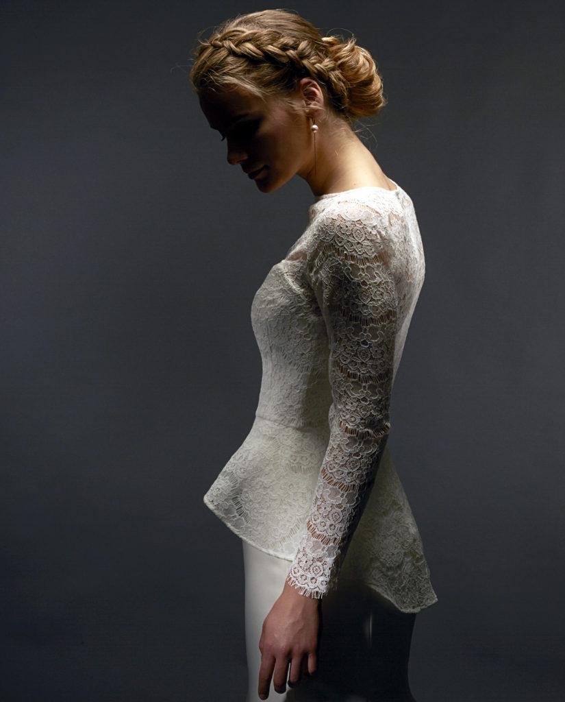 Fonda lace top with peplum skirt. Wedding accessories by Gudnitz Copenhagen