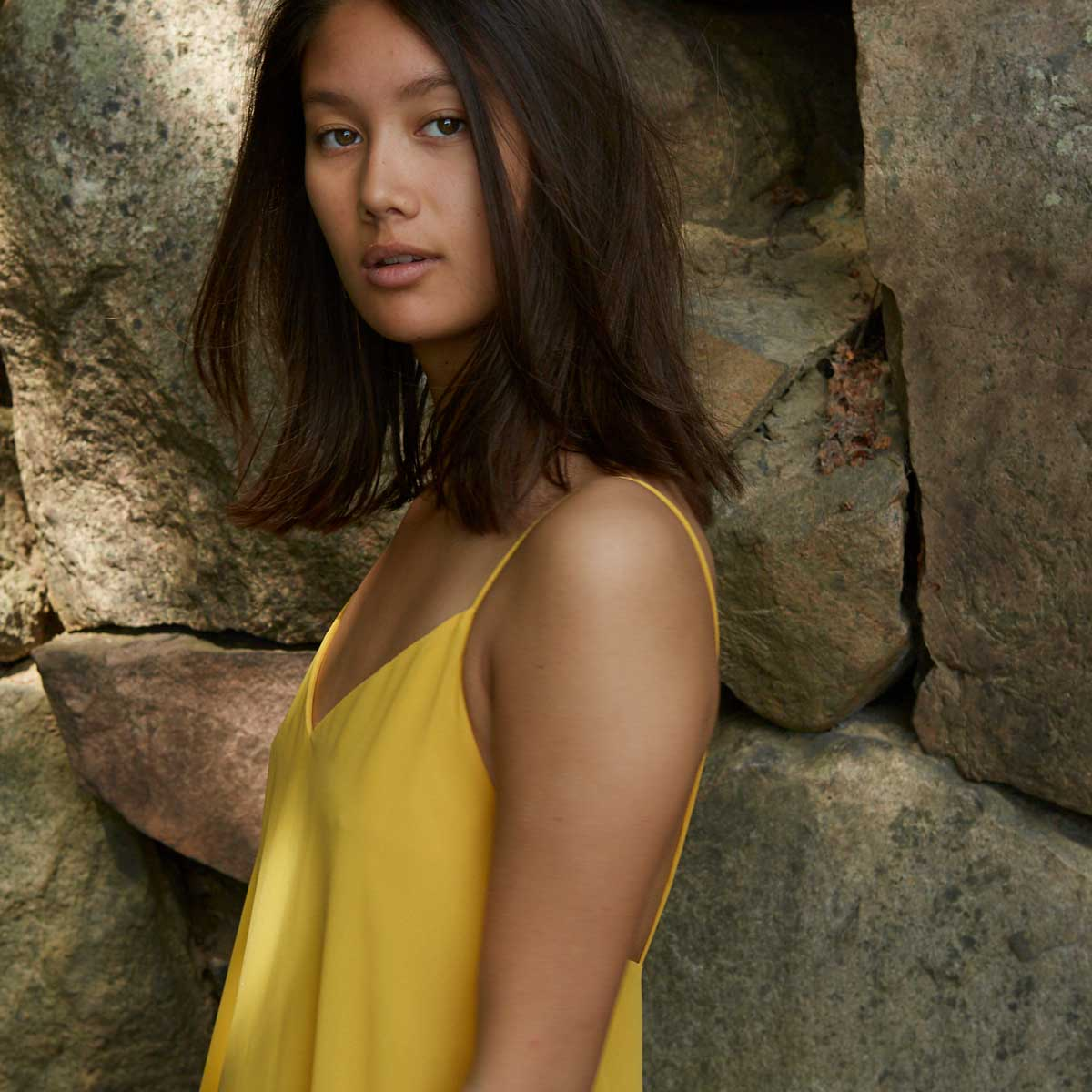 Augusta Yellow. Oversize maxi dress. Designed to have a slightly loose fit. Lightweight fabric. Gudnitz Copenhagen