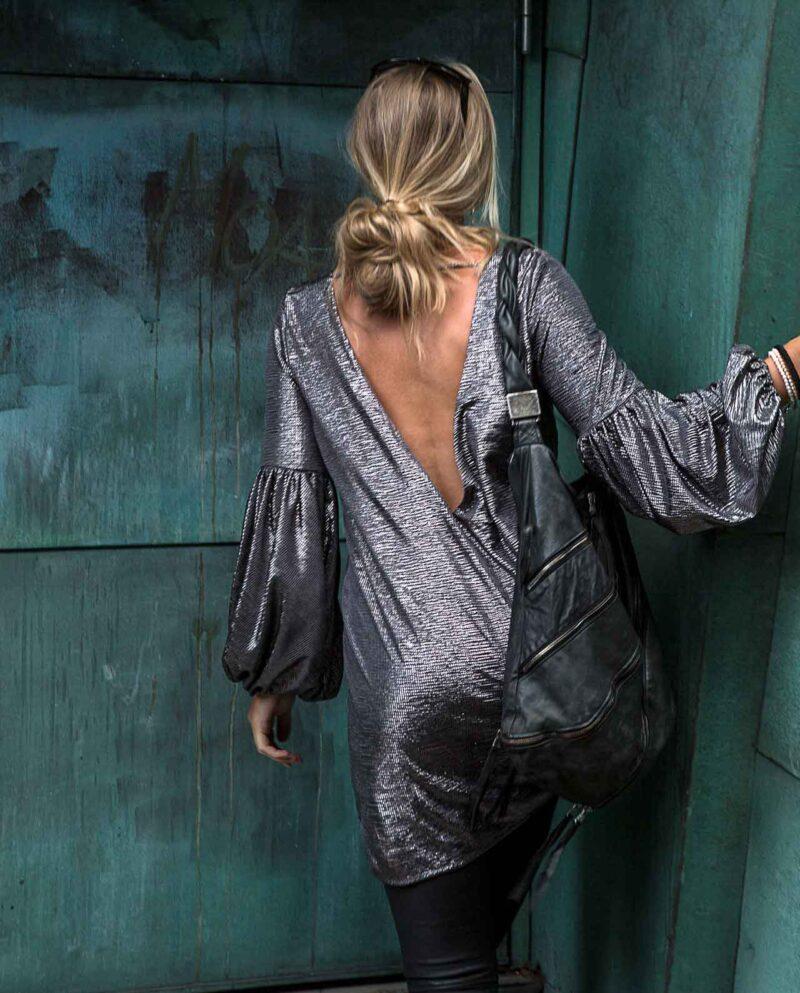 Luna Silver dress. Silver lamé dress. Gudnitz Copenhagen